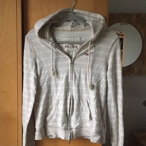 Hollister Zip Up Sweatshirt Tan and White Striped